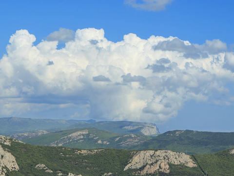 South Crimea. The mountains. Panorama. Time Lapse Footage