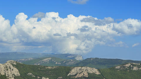 Clouds over the mountains, the south of the Crimea. Panorama. TimeLapse Footage
