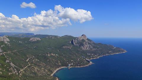 coast of Crimea. South. Laspi Bay. Panorama. TimeLapse Footage