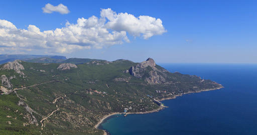 coast of Crimea. South. Laspi Bay. Panorama. TimeLapse Footage