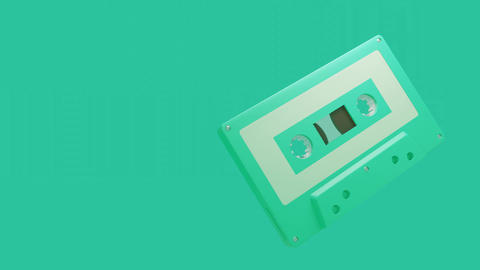Pale green cassette tape isolated on green text space Animation