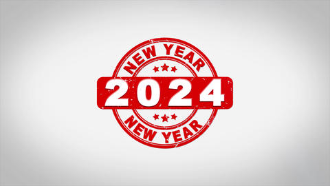 Happy New Year 2024 Signed Stamping Text Wooden Acción en vivo
