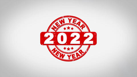 Happy New Year 2022 Signed Stamping Text Wooden Acción en vivo