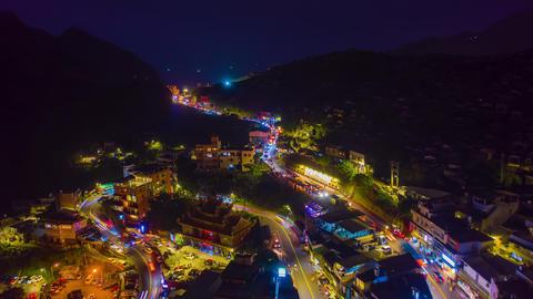 Aerial view 4k Hyper lapse of Jiufen, also spelled Jioufen or Chiufen Live Action