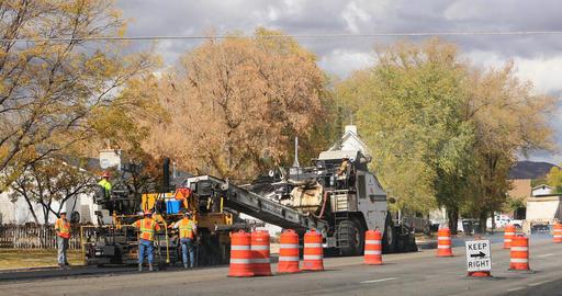 Industrial workers road repair asphalt machine DCI 4K 791 Footage