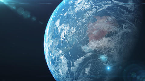 Earth with digital lens flare from space Animation
