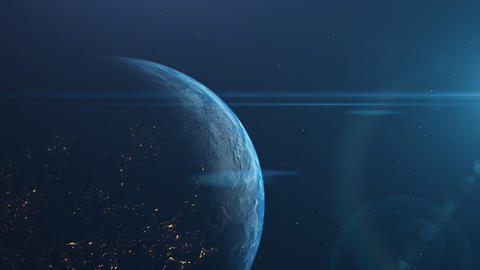 Earth planet with optical lens flare on space.Motion globe with clouds and sunlight Animation