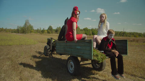 Death on tractor transporting souls to afterlife Live Action