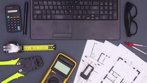 Architecture plan and construction tools move on dark theme. Stop motion Animation
