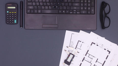 Architecture plan and construction tools appear on dark theme. Stop motion Animation