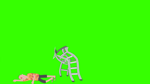 Ladder Safety: Cartoon Man Falls off Ladder (+Matte) Animation
