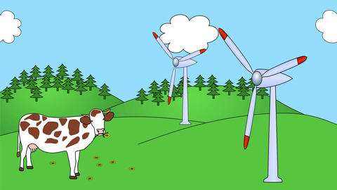 Wind Power Plants seamless loop video Animation