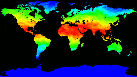 World map thermo waves seamless loop GIF