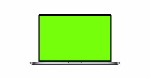 Laptop dark silver mockup with green screen isolated on white background Animation