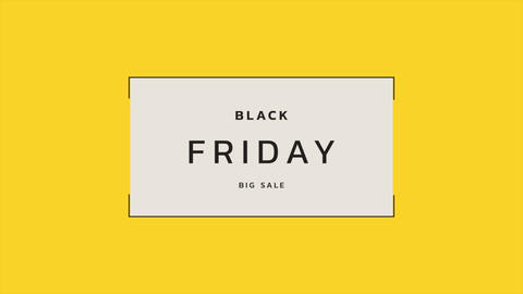 Animation intro text Black Friday on yellow fashion and minimalism background with geometric lines Animation