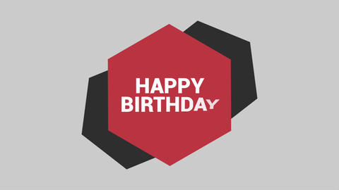 Animation intro text Happy Birthday on red fashion and minimalism background with geometric shape Animation