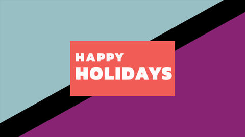 Animation intro text Happy Holidays on fashion and minimalism background with geometric shape Animation