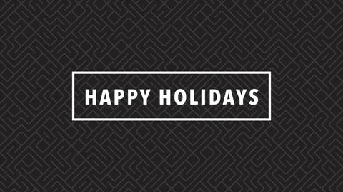 Animation intro text Happy Holidays on black fashion and minimalism background with geometric shape Animation