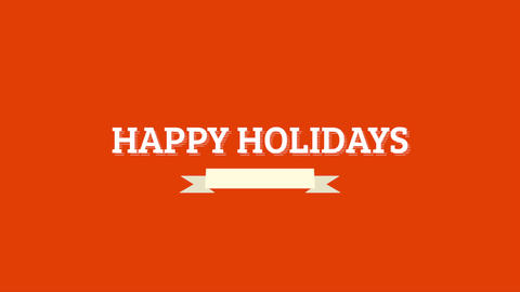 Animation intro text Happy Holidays on red fashion and minimalism background Animation