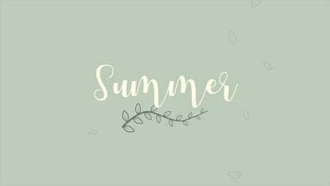 Animated closeup text Summer and leaf, summer background Animation