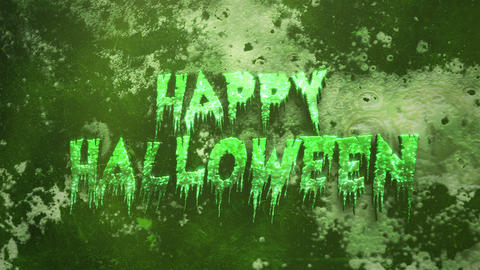 Animation text Happy Halloween on mystical on mystical horror background with dark blood Animation
