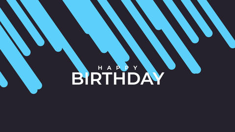 Animation intro text Happy Birthday on blue fashion and minimalism background with geometric lines Animation