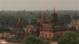 Trees Surround Ancient Buddhist Temples In Pagan Of Burma, Myanmar stock footage
