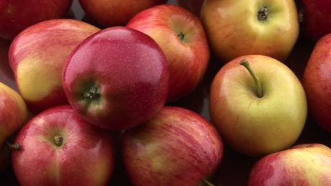 Apples sit on a table Stock Video Footage