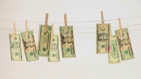 Money hangs on a clothesline Footage