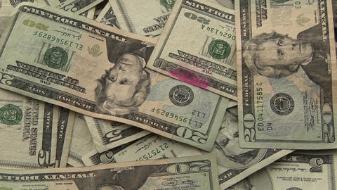 A Pile Of Money Sits On A Table stock footage