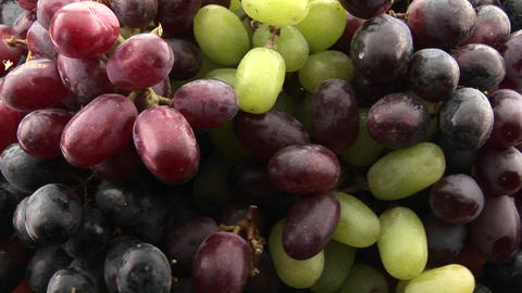 Purple, red, and green grapes sit in a cluster Live Action