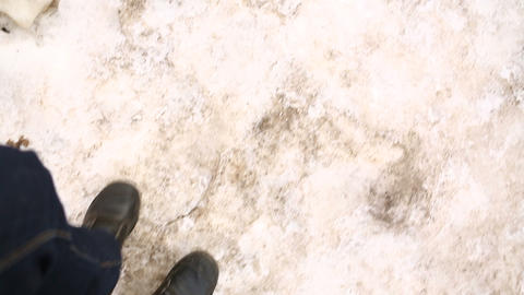winter step 02 Stock Video Footage
