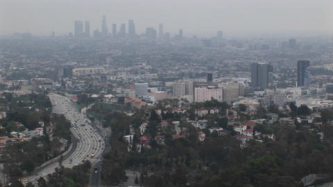 Smog hangs on the distant cityscape Footage