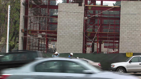 Construction workers relax on break Stock Video Footage