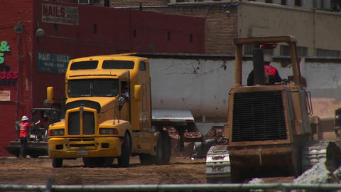 A truck parks at a construction site Stock Video Footage