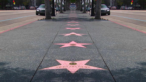 Stars line the Hollywood Walk of Fame Stock Video Footage