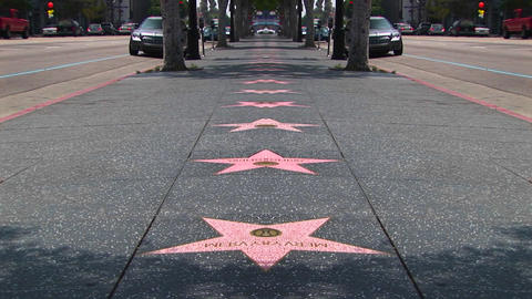 Stars line the Hollywood Walk of Fame Footage