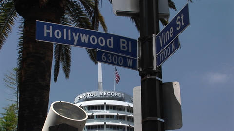The Capitol Record building rises near the intersection of Hollywood and Vine Footage