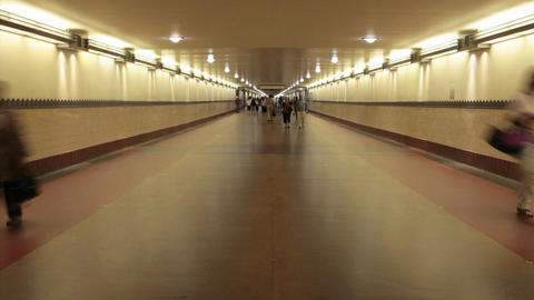 A time lapse of pedestrians walking through a long hallway Live Action