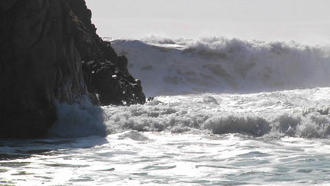 Big waves crash along the California coastline Stock Video Footage
