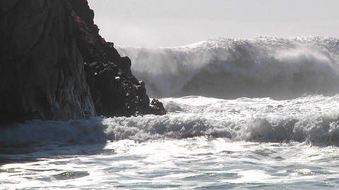 Big waves crash along the California coastline Footage