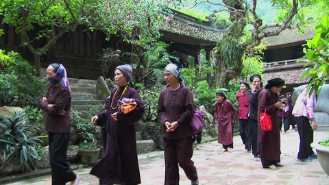Vietnamese women practice tai chi near an old temple Footage