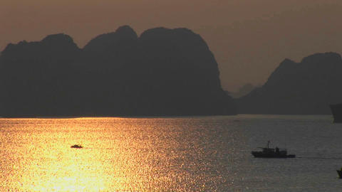 A beautiful sunset over the Ha Long Bay in Vietnam Stock Video Footage