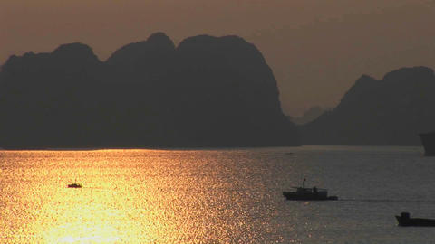 A beautiful sunset over the Ha Long Bay in Vietnam Footage