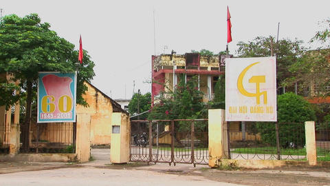 A local communist party building in Vietnam Stock Video Footage