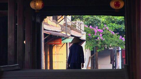 A woman walks under a bridge in a small village in Vietnam Footage