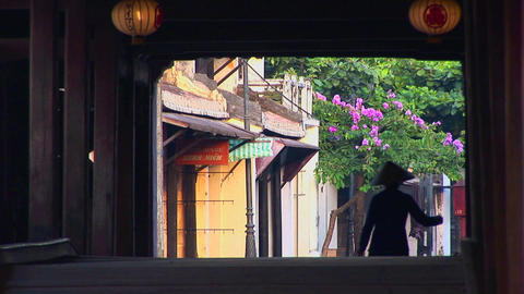 A woman walks under a bridge in a small village in Vietnam Stock Video Footage