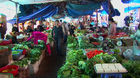 Interior of a Vietnamese open market Stock Video Footage