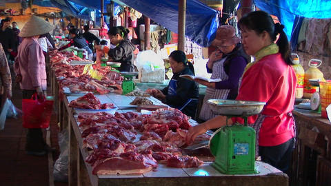 Food sellers offer their wares in a Vietnamese meat market Stock Video Footage