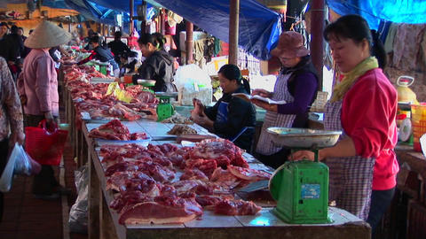 Food sellers offer their wares in a Vietnamese meat market Footage